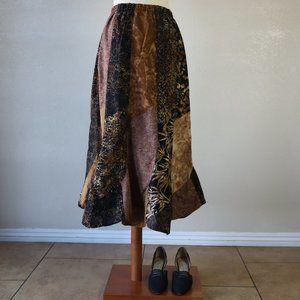 90's Patch Work Earthy Tones Fluted Hem Midi Skirt